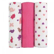 Tetra pelenka, csúcsminőség, 3 db/csomag, 70x70 cm - Rózsaszín csigák