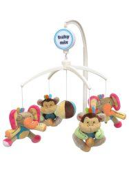 Babymix zenélő körforgó kiságyra - elefántok és majmok