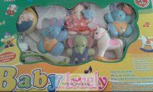 Baby Lovely zenélő körforgó kiságyra, kék nyuszik