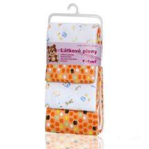 Pamut pelenka, csúcsminőség, 4 db/csomag, 76x76 cm - Narancssárga mancsok