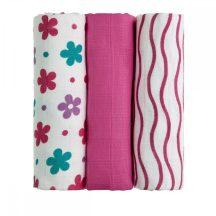 Tetra pelenka, csúcsminőség, 3 db/csomag, 70x70 cm - Rózsaszín virágok