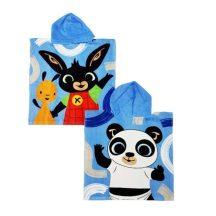 Bing és barátai strand törölköző poncsó 50 x 115 cm, kék, két oldalán különböző karakterekkel