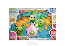 Baby Toys Zenélő körforgó kiságyra, plüss kiskutyás