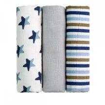Tetra pelenka, csúcsminőség, 3 db/csomag, 70x70 cm - Kék csillagok
