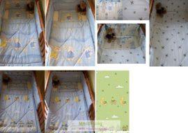 Muszlinos baldachin függöny bölcső, baba garnitúrához