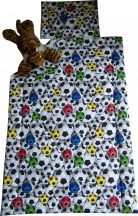 Bölcső, baba ágynemű garnitúra (paplan+párna) fiús mintával,  I. kategóriás