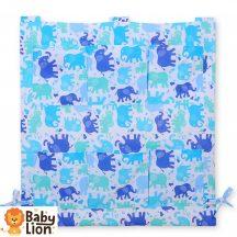 BabyLion Prémium Zsebes tároló kiságyra - Kék elefántok