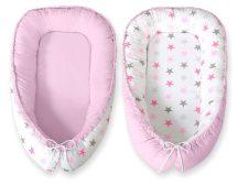 BabyLion Prémium babafészek - Kifordítható! - Rózsaszín csillagok