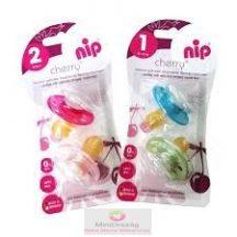 Nip cseresznye alakú viágítós játszócumi, latex, 2 db/csomag fiús/lányos színekben (0-6 hó, 6+hó)