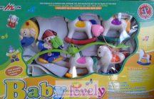 Baby Lovely zenélő körforgó kiságyra, bohóc lovakkal