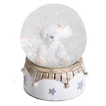 Karácsonyi hógömb ülő jegesmedve figurával