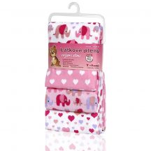 Pamut pelenka, csúcsminőség, 4 db/csomag, 76x76 cm - Rózsaszín elefántok