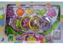 Musical Baby Mobile zenélő körforgó kiságyra, szívecskés