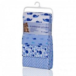 Pamut pelenka, csúcsminőség, 4 db/csomag - Kék bálnák