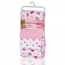 Pamut pelenka, csúcsminőség, 4 db/csomag, 76x76 cm - Rózsaszín csigák
