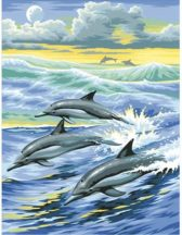 Gyémántfestés szett, delfinek, 30x40cm