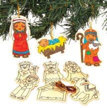 Fa karácsonyi, betlehemi figurák, 10 db-os, 5,5-10cm