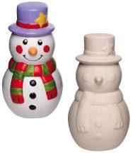 Karácsonyi, festhető hóemberes persely, kerámia figura, 14,5cm, 2 db/doboz