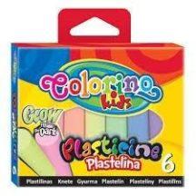 Színes gyurmakészlet, 6 db-os, GLOW (fluoreszkáló), Colorino