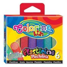 Színes gyurmakészlet, 6 db-os, GLITTER, Colorino