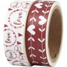 Öntapadós papírszalag, washi tape, 15mm x 5m, 2 db/csomag, love and hearts