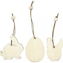 Fa figurák akasztóval, húsvéti, 9 db/csomag (nyuszi, tojás, tyúk), 6 cm