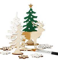 Karácsonyi fa dekoráció készítő kreatív szett, 15x17cm, erdő rénszarvassal