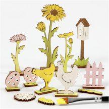 Húsvéti fa dekoráció készítő kreatív szett, 15x17cm, húsvéti kert (tyúk, tojás, virág)