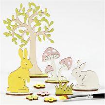 Húsvéti fa dekoráció készítő kreatív szett, 15x17cm, nyuszi fával és gombával