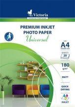 Fotópapír, tintasugaras, A/4, 180 g, 20lap/cs, matt, VICTORIA Universal