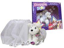 Doggie Star szett, Doggie plüss táska szoknyával és csatokkal, fehér