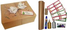 Karácsonyi ajándékcsomagoló szett (csomagolópapír, madzag, matrica, csillámos ragasztó, flitter, ragasztó), Kidea