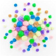 Pom-pom, pasztell színek, 1-2,5 cm-es, 78 db/csomag