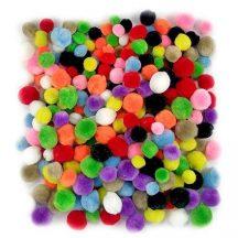 Pom-pom, alap színek, 1,5-2,5 cm-es, 300 db/henger