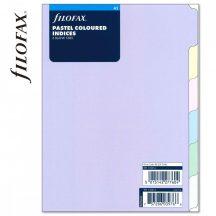 Filofax A/5 elválasztó lapok, 148x210mm, bianco, regiszter, 6 db-os, pasztell