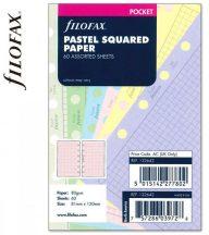 Filofax Pocket jegyzetlapok, 81x120mm, kockás, 60 lapos, pasztell