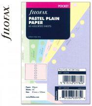 Filofax Pocket jegyzetlapok, 81x120mm, sima, 60 lapos, pasztell