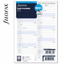 Filofax A/5 naptárbetét, éves tervező, 148x210mm, vertikális, fehér, 2021