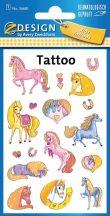 Tetoválás matrica szett, csillámos lovak 7,5x12cm