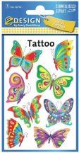 Tetoválás matrica szett, lepkék, pillangók 7,5x12cm