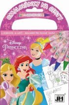 Disney hercegnők úti színező 72 lappal és 6 zsírkrétával, 12,5x11,5 cm