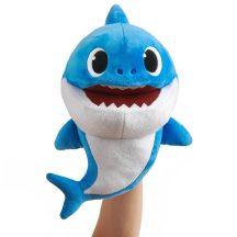 Baby Shark cápa ütemre zenélő plüss, 28x17x16cm, kék apa cápa