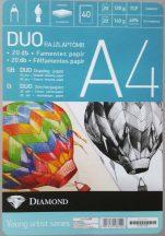 Rajzlaptömb DUO A/4, (félfamentes, famentes, 120-140g), 20+20 lap/tömb