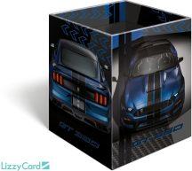 Autós asztali ceruzatartó, karton 8x8x10cm, Ford Mustang blue