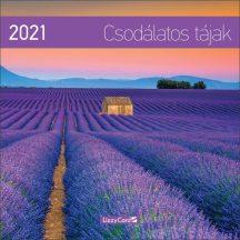 Fali naptár, nagy lemeznaptár, 30x30cm, Csodálatos tájak, 2021