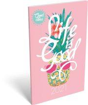 Lizzy Calendar zsebnaptár, heti, A6, tűzött, Good Vibes Life is good, 2021