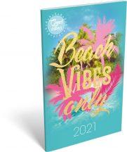Lizzy Calendar zsebnaptár, heti, A6, tűzött, Good Vibes Beach vibes only, 2021