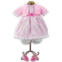 Rózsaszín - fehér, kockás babaruha és babacipő játékbabáknak