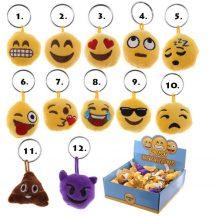 Smiley, emoji kulcstartó, plüss kulcstartó hang effekttel, 4cm,többféle *