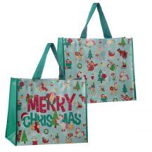 Karácsonyi bevásárló táska, állatos, 40x33x17cm